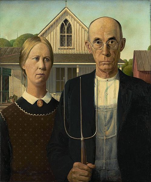 American Gothic Depiction Of Puritanism By Grant Wood