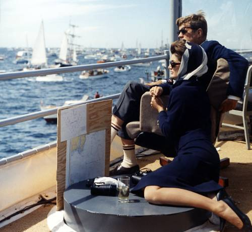 John And Jacqueline Kennedy At The America's Cup  Race