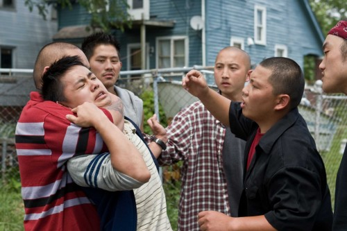 Gran Torino Film Review. Thao (Bee Vang) And The Hmong Gang (Jerry Lee, Elvis Thao, Sonny Vue And Doua Moua). Warner Bros Pictures