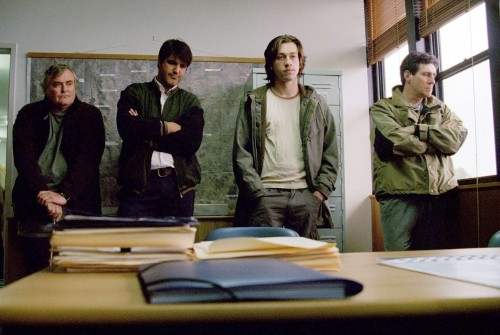 Jindabyne Film Review Carl (John Howard), Rocco (Stelios Yiakmis), Billy (Simon Stone) and Stewart Kane (Gabriel Byrne)