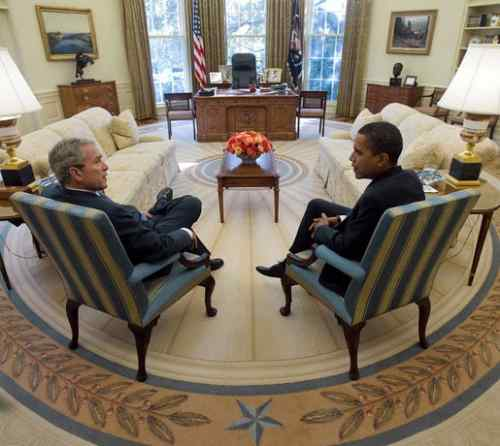 George W. Bush And Barack Obama In 2008 Photo By Eric Draper