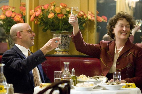 Paul (Stanley Tucci) And Julia Child (Meryl Streep) In Julie And Julia. Columbia Pictures