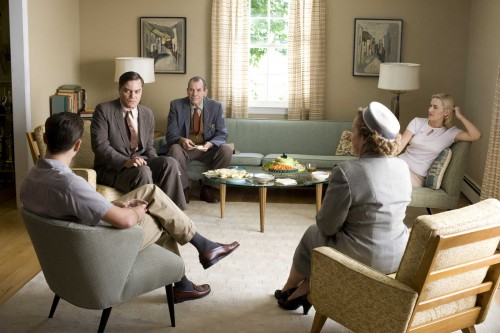 Revolutionary Road Film Review Frank Wheeler (Leonardo DiCaprio), John Givings (Michael Shannon), Mr. Givings (Richard Easton), Mrs. Givings (Kathy Bates) And April Wheeler (Kate Winslet)