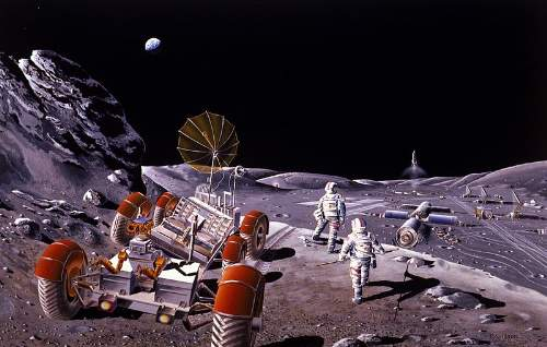 Lunar Fascination: Artist's Impression Of A Future Moon Colony By Dennis M. Davidson NASA