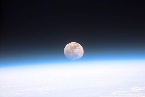 Picture Of The Moon Viewed From A Space Shuttle Orbiting Planet Earth