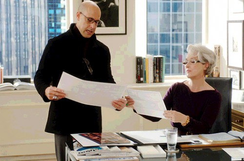 The Devil Wears Prada Film Review Nigel (Stanley Tucci) And Miranda Priestly (Meryl Streep)