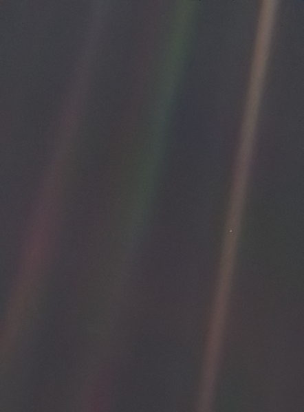 The Pale Blue Dot The Most Distant Image Of Planet Earth Six Billion Kilometres (3.7 billion miles) Away (Brown Layer Of Light On The Right Side Of The Picture)