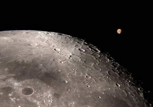 Lunar Voyages: The Planet Mars Above The Moon