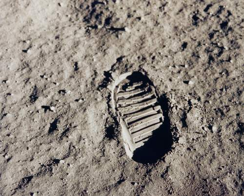 Buzz Aldrin's Footprint On The Surface Of The Moon