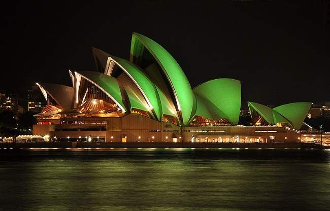 Saint Patrick's Day Green Lit Sydney Opera House Photo By Mike Young Creative Commons ShareAlike Licence