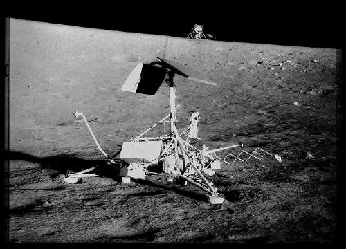 Surveyor 3 And the Apollo 12 Lunar Module On The Moon