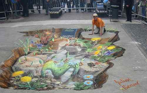 Julian Beever Painting In Buenos Aires