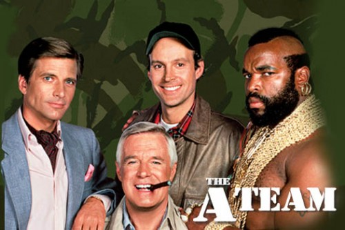 Templeton 'Faceman' Peck (Dirk Benedict), John 'Hannibal' Smith (George Peppard), 'Howling Mad' Murdock (Dwight Schultz) And B.A. Baracus (Mr. T) In The A-Team