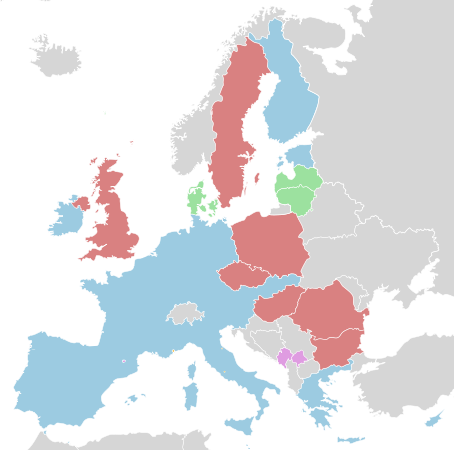 Eurozone Countries In Blue