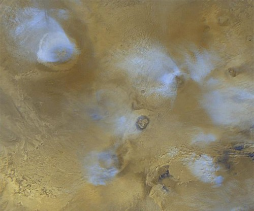 The Tharsis Rise On Planet Mars With Clouds Covering The Peaks