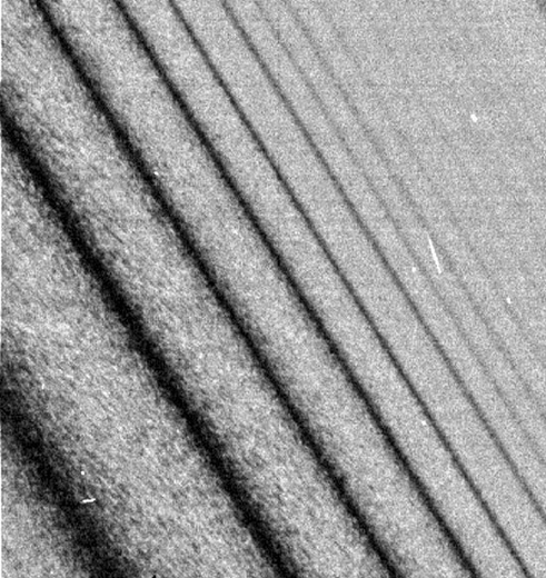 A Close Up Of A Portion Of Planet Saturn's Rings