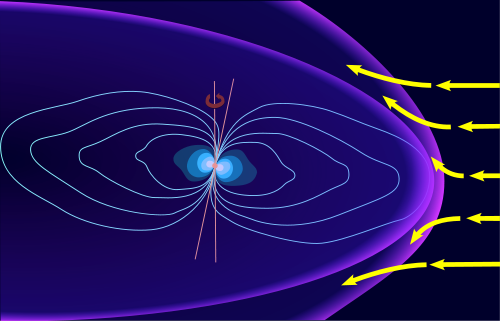 The Magnetosphere Of Planet Jupiter (The Small Pink Sphere In The Centre Is The Planet)