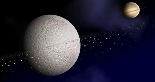 Artist Impression Of Saturn's Moon Rhea's Ring System