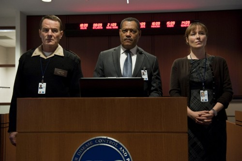 Royal Admiral Lyle Haggerty (Bryan Cranston), Dr. Ellis Cheever (Laurence Fisburne) And Dr. Ally Hextall (Jennifer Ehle) In Contagion (Warner Bros)