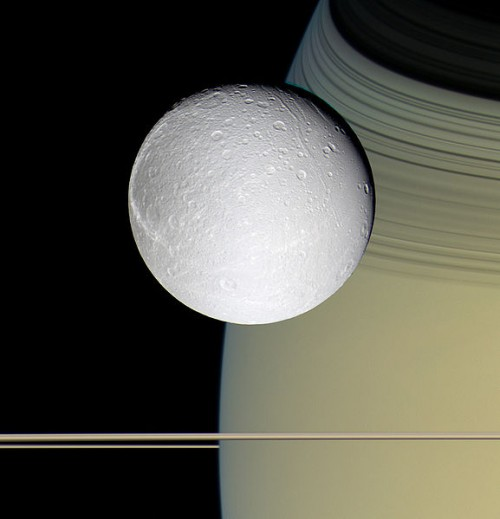 Saturn's Moon Dione And Saturn With Her Rings