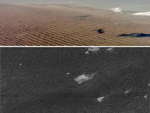 Saturn's Moon Titan And Earth Dunes Comparison