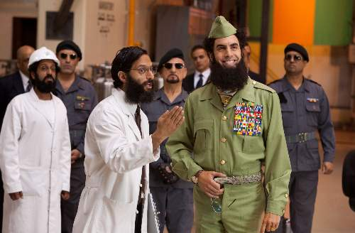 The Dictator Film Review Maroush (Adeel Akhtar), Nadal (Jason Mantzoukas), Tamir (Ben Kingsley) And Admiral General Aladeen (Sacha Baron Cohen) Paramount Pictures