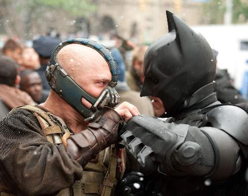 The Dark Knight Rises Film Review Bane (Tom Hardy) And Batman (Christian Bale) Warner Bros