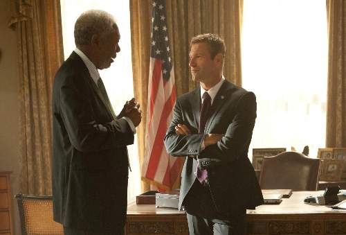 Olympus Has Fallen Film Review Allan Trumbull (Morgan Freeman) And Benjamin Asher (Aaron Eckhart)