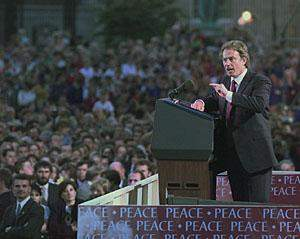 Tony Blair At Armagh After The 1998 Northern Ireland Peace Agreement