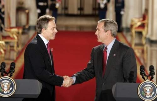 Tony Blair With George W. Bush Photo By Paul Morse