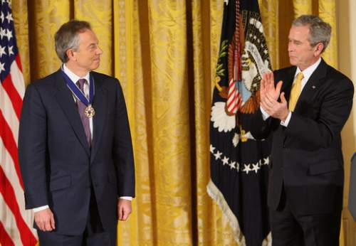 Tony Blair With George W. Bush Photo By Chris Greenberg