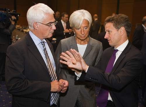 Christine Lagarde Quotes With Alistar Darling and Tim Geithner Photo By Stephen Jaffe