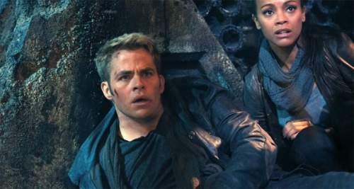 Star Trek Into Darkness Film Review James T. Kirk (Chris Pine) And Nyota Uhura (Zoe Saldana)