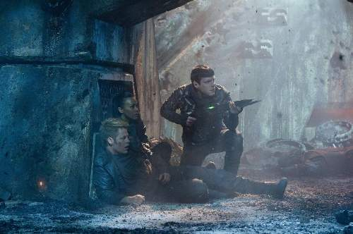 Star Trek Into Darkness Film Review James T. Kirk (Chris Pine), Nyota Uhuru (Zoe Saldana) And Spock (Zachary Quinto)