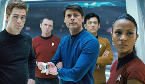 Star Trek Into Darkness Film Review James T. Kirk (Chris Pine), Scotty (Simon Pegg), Bones (Karl Urban), Hikaru Sulu (John Cho) and Nyota Uhura (Zoe Saldana)