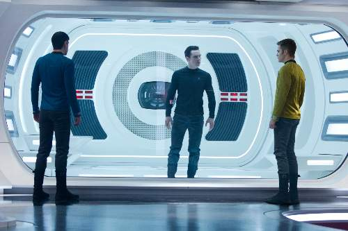 Star Trek Into Darkness Film Review Spock (Zachary Quinto), Khan (Benedict Cumberbatch) And James T. Kirk (Chris Pine)