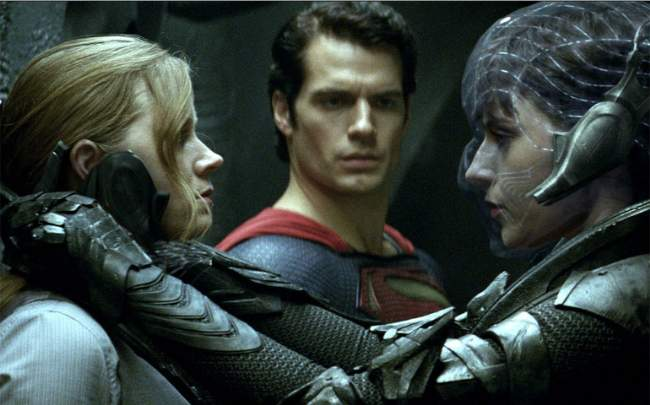 Man Of Steel Film Review Louis Lane (Amy Adams), Superman (Henry Cavill) And  Faora-Ul (Antje Traue) Warner Bros