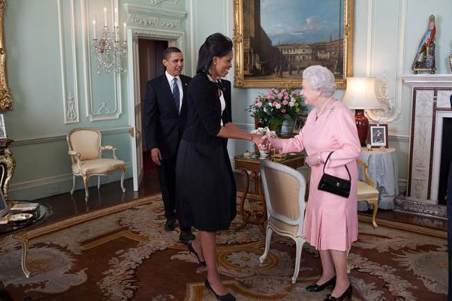 Michelle Obama With Barack And Queen Elizabeth II