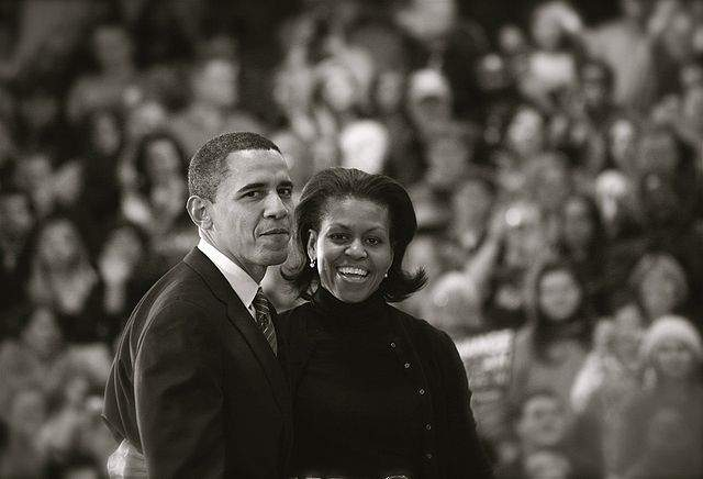 Michelle Obama With Barack In 2008 Photo by Matthias Kotter Creative Commons ShareAlike Licence