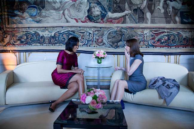Michelle Obama With Carla Bruni-Sarkozy Photo By Chuck Kennedy
